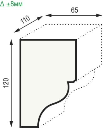 Размеры консоли из полиуретана модерн Уникс КМ12