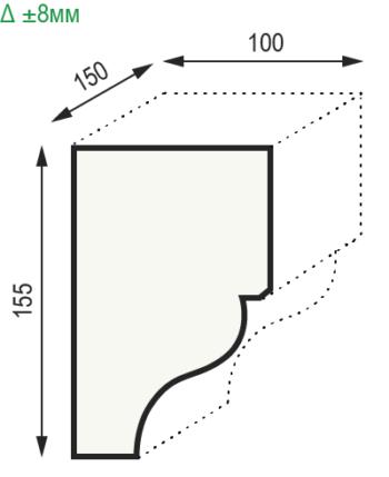 Размеры консоли из полиуретана модерн Уникс КМ16