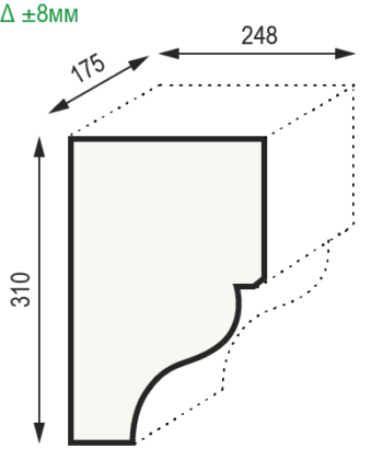 Размеры консоли из полиуретана модерн Уникс КМ22